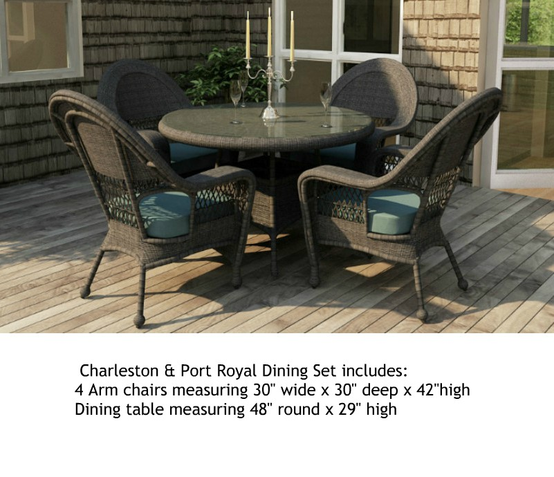 "413_48_SetB - North Cape Charleston and Port Royal 48"" 5 Piece Dining Set"