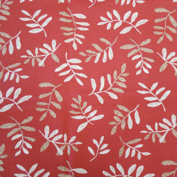 Native Leaves Red - Spun Poly Fabric on Premium Cushions